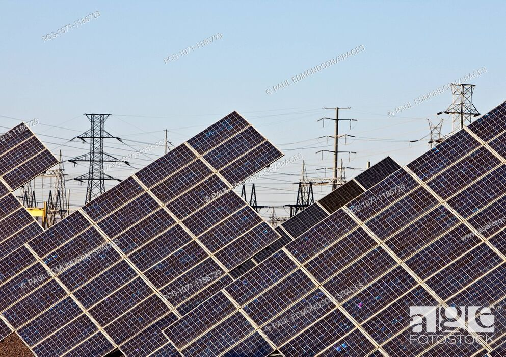 Stock Photo: Solar Panels and Power Lines.
