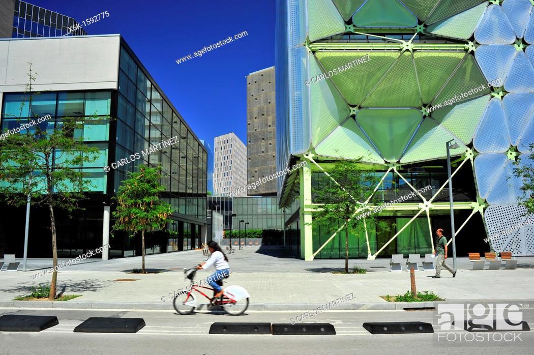 Stock Photo: Media-TIC building (architect: Enric Ruiz-Geli), 22@ district, Barcelona, Catalonia, Spain.