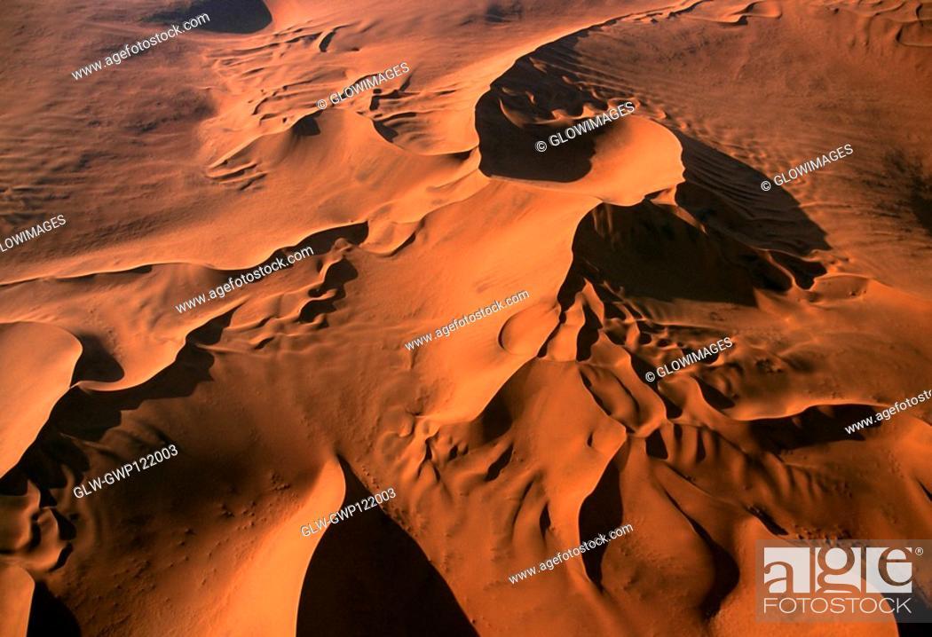 Stock Photo: Dunes in the Namib Desert, Namibia, Aerial view.