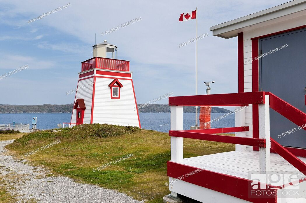 Stock Photo: Lighthouse at Fishing Point in St. Anthony, Newfoundland, Canada.