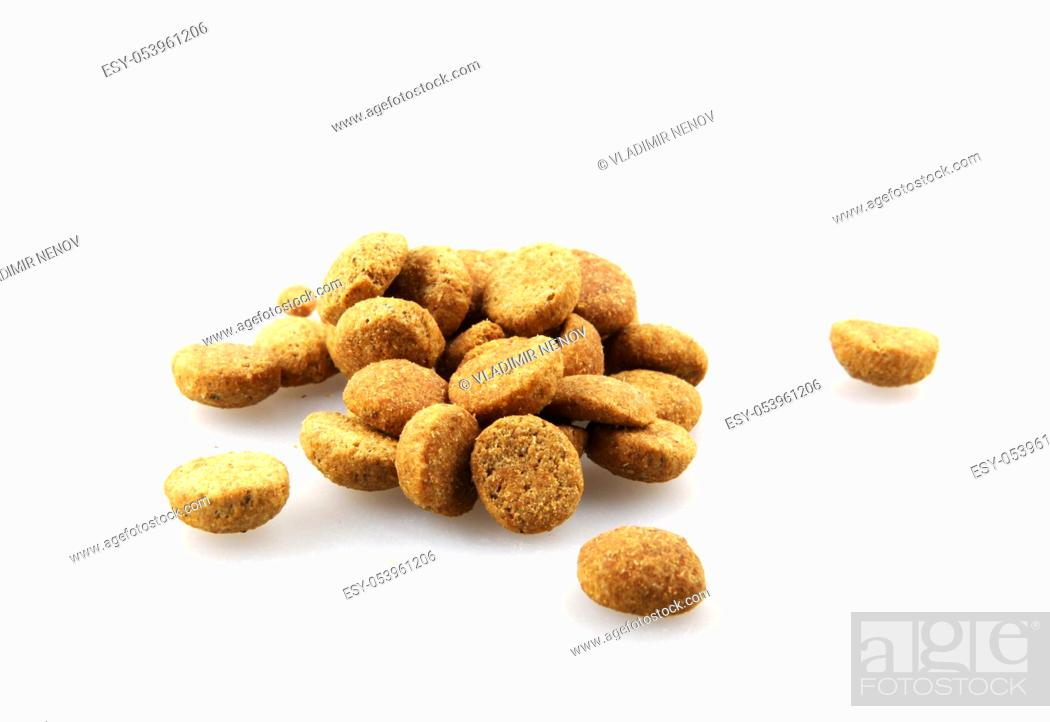 Stock Photo: Dry pet food against white background.