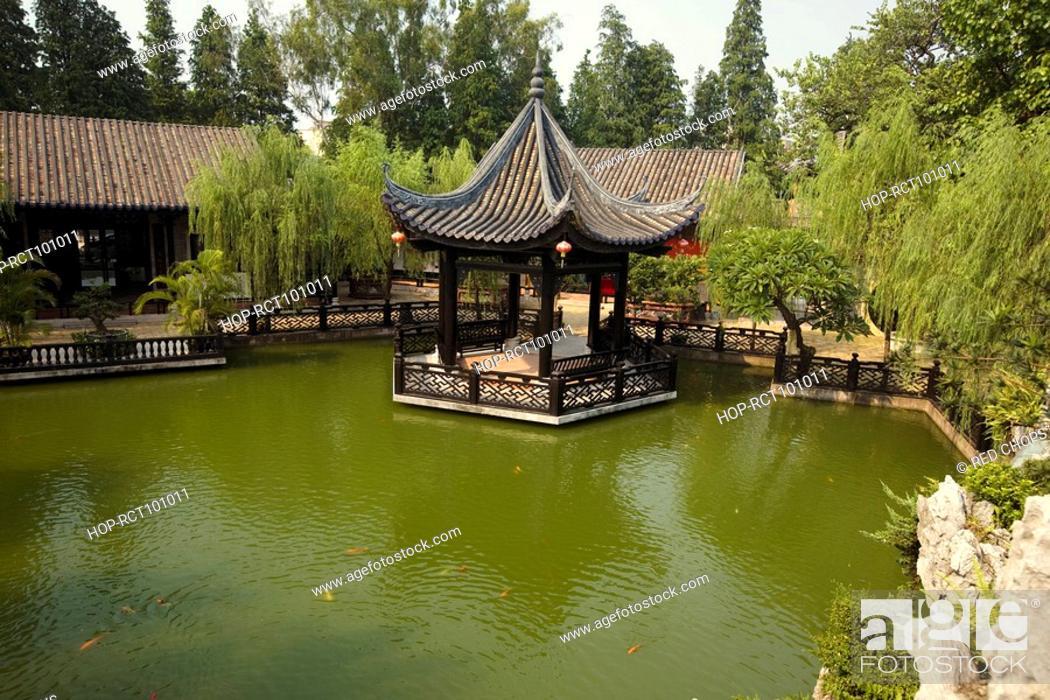 Stock Photo: Gazebo in a garden, Yu Yin Shan Fang, Panyu, Guangzhou, Guangdong Province, China.