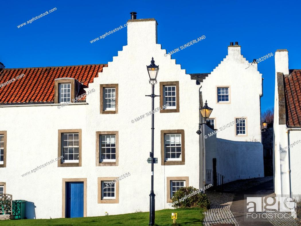 Stock Photo: Dutch Influenced White Houses on Pan Ha in Dysart Fife Scotland.
