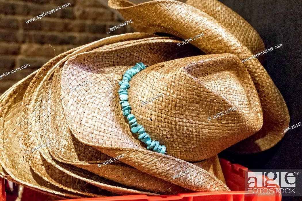 Stock Photo: A stack of Western Hats displayed in a Nashville, TN Western Wear Store.