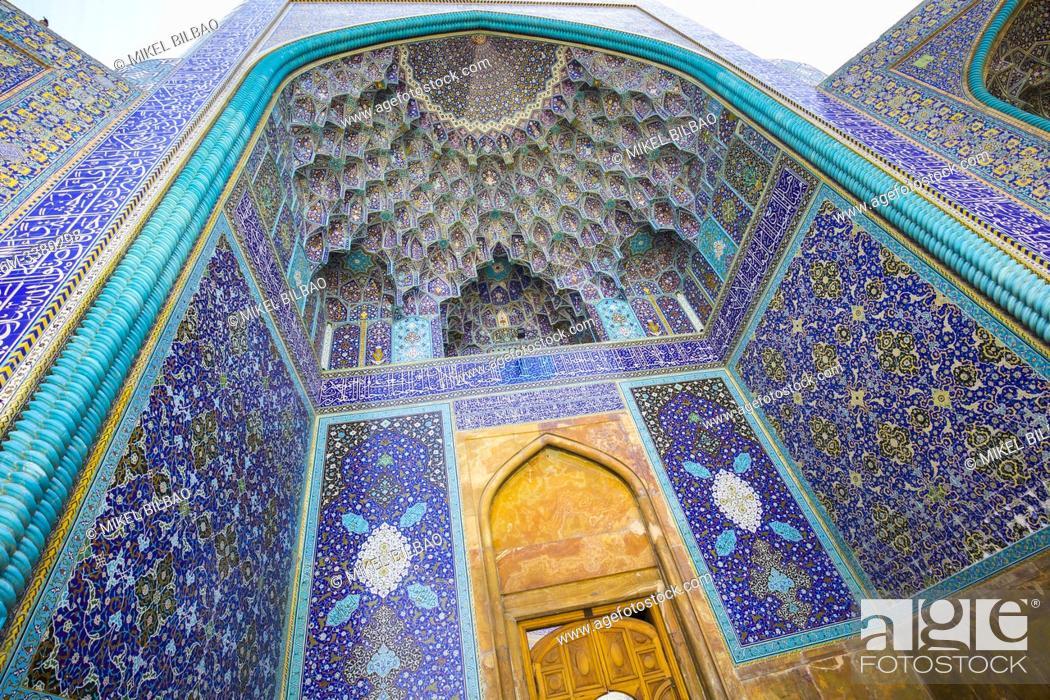 Stock Photo: Entrance iwan. Shah Mosque. Naghsh-e Jahan Square. Isfahan, Iran. Asia.