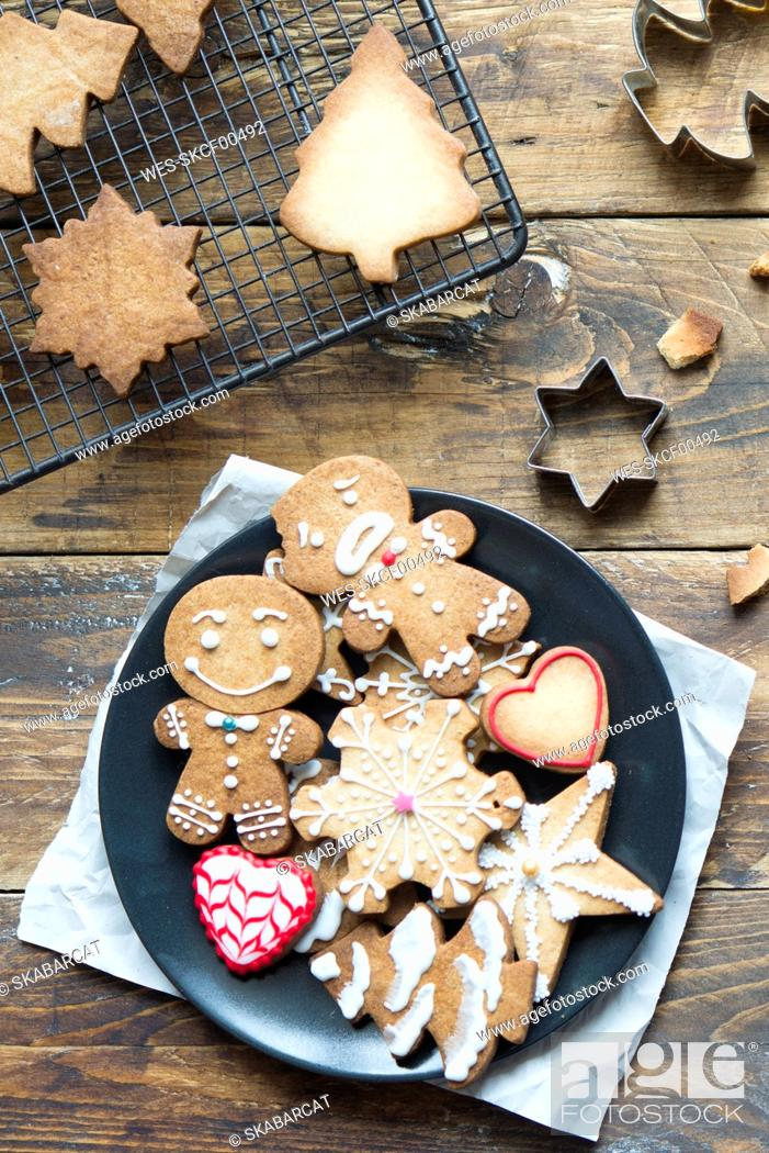 Stock Photo: Plate of various Christmas cookies.