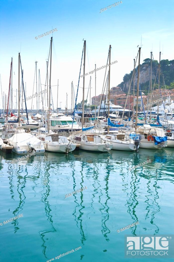 Stock Photo: Fishing boats docked at a harbor, Nice, French Riviera, France, Europe.