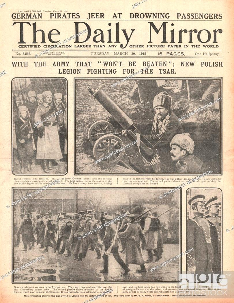 1915 front page Daily Mirror Polish Legion fighting