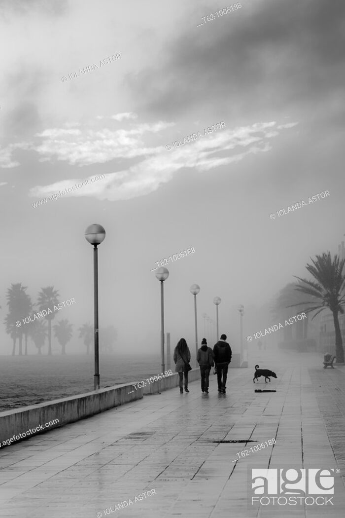 Stock Photo: People walking in a fog late.