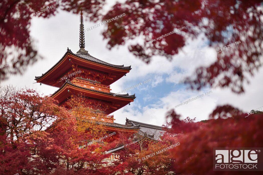 Stock Photo: Sanjunoto pagoda of Kiyomizu-dera Buddhist temple in Kyoto framed by red autumn leaves. Higashiyama, Kyoto, Japan.