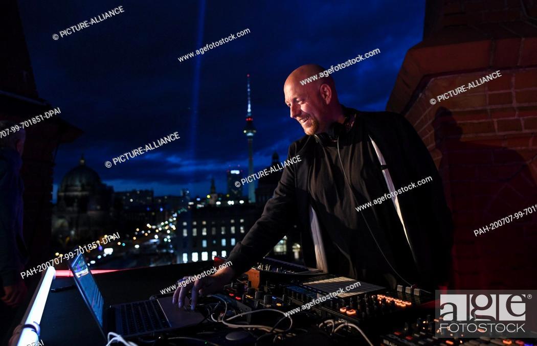 "Stock Photo: 06 July 2020, Berlin: DJ Moritz Rausch aka Rauschhaus will play on the roof of the Friedrichswerder Church as part of the project """"SPOT / berlin art sessions""""."