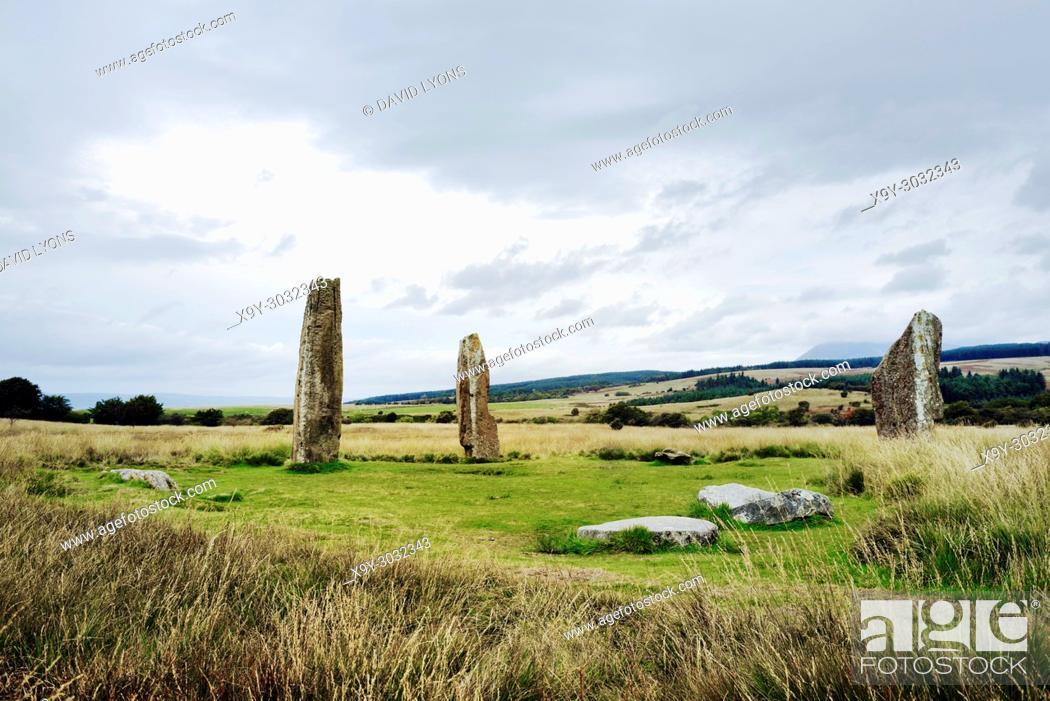Stock Photo: Machrie Moor prehistoric stone circles. Isle of Arran, Scotland. 4000+ year megalithic ritual site. Circle 2 shown. Tallest 4. 9m.