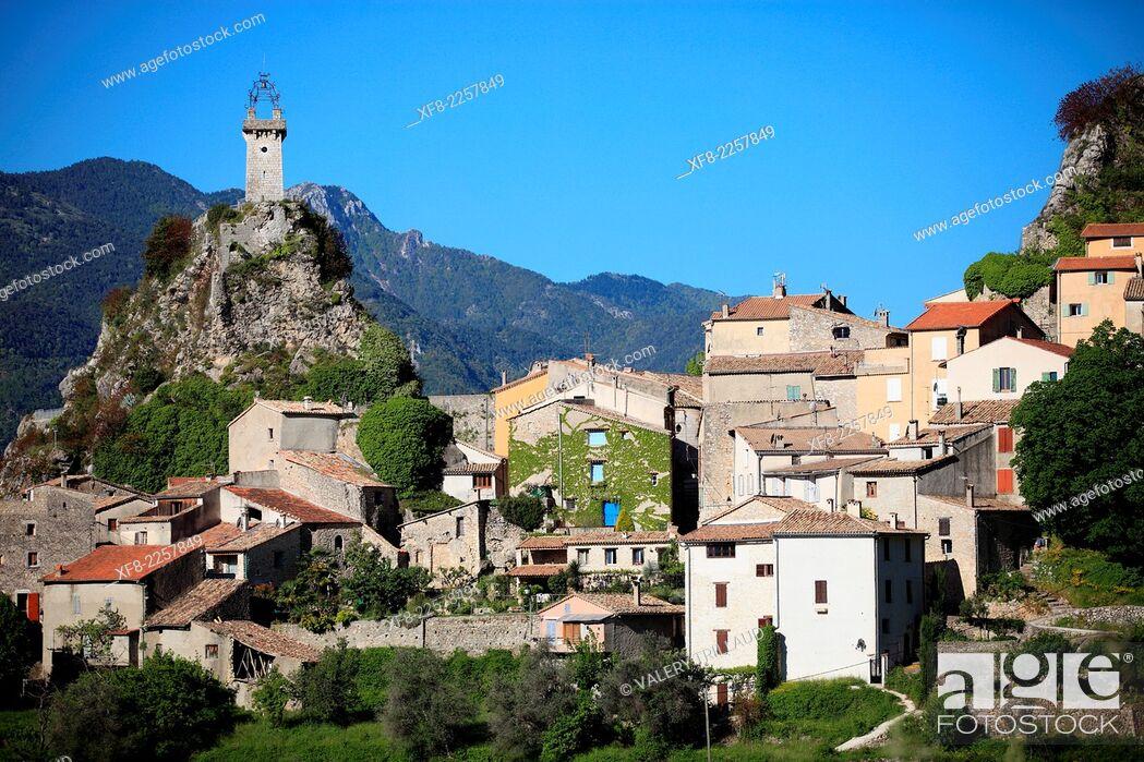 Stock Photo: The village of Sigale in the Esteron Valley, Prealpes d'Azur regional park, Alpes-Maritimes, Provence-Alpes-Côte d'Azur, France.