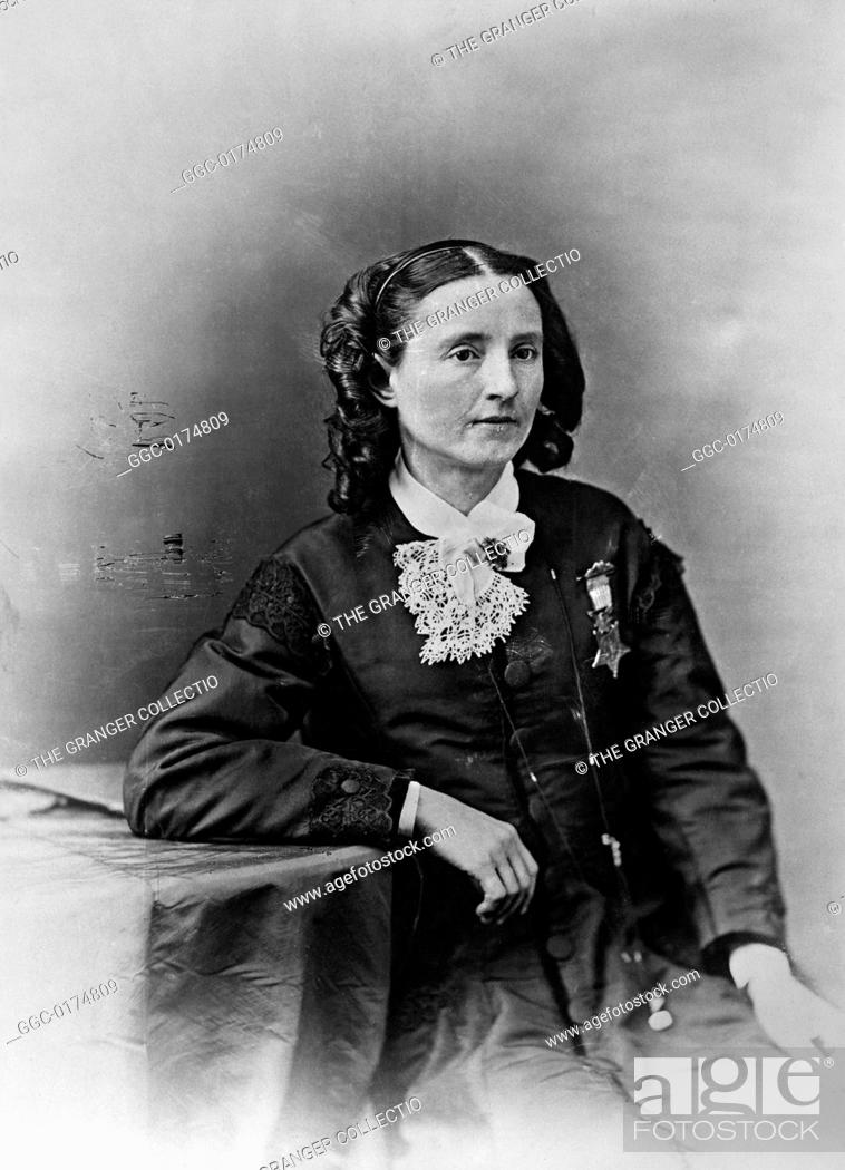 Stock Photo: 1832-1919. American physician and woman's rights advocate. Photographed wearing the Medal of Honor, c1865.