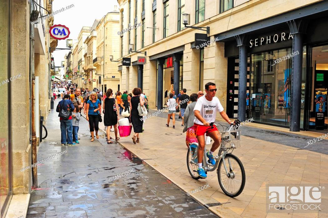 Stock Photo: Rue Ste Catherine, Bordeaux, Gironde Department, Aquitaine, France.