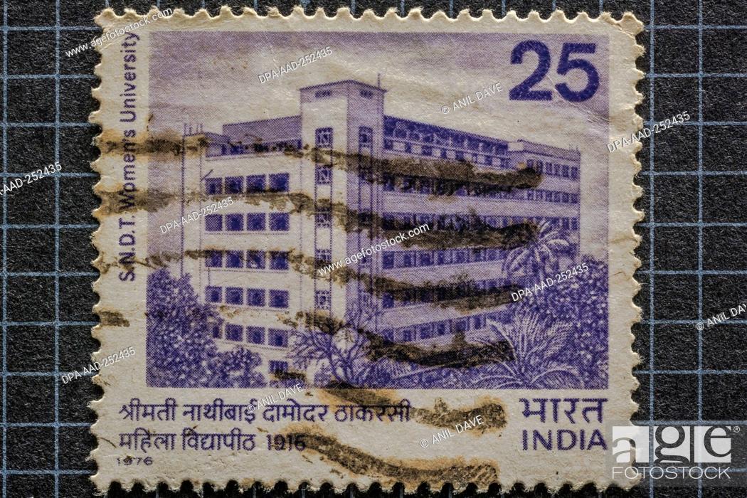 Photo de stock: Sydenham college mumbai, postage stamps, india, asia.