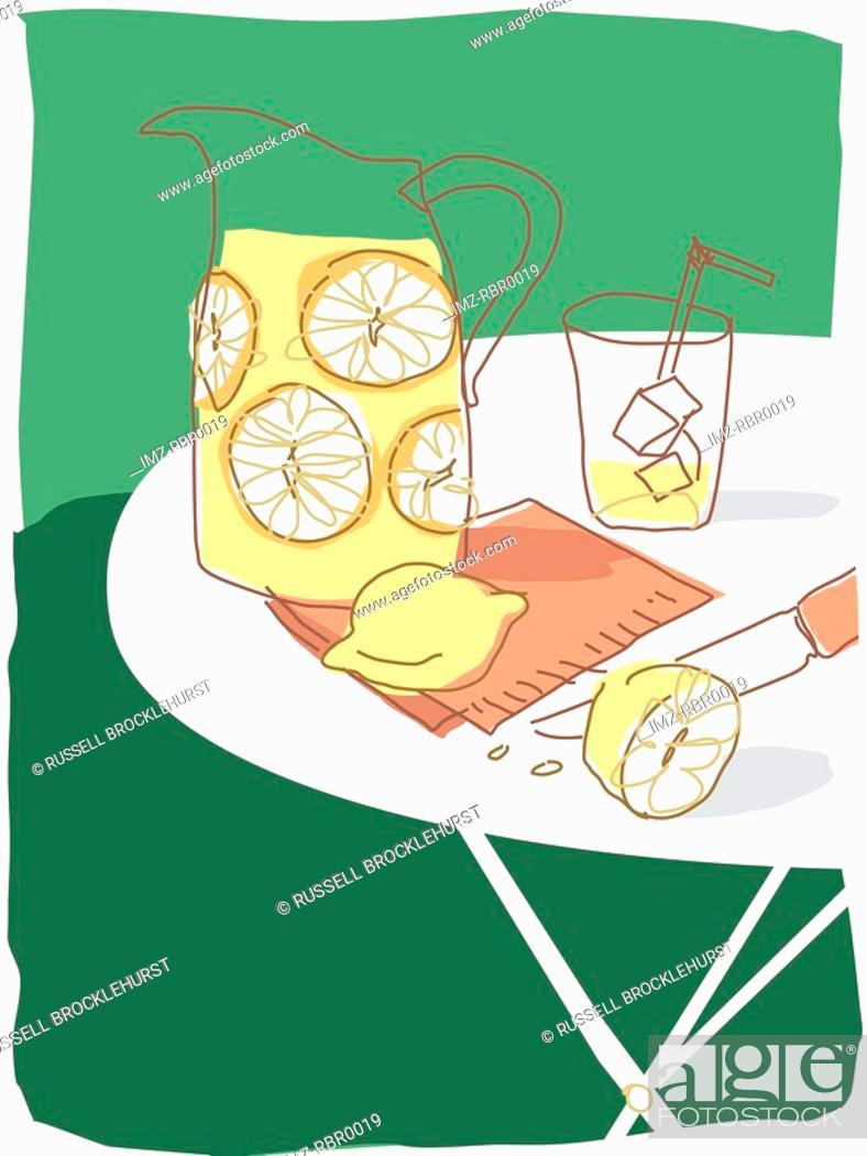 Stock Photo: fresh lemonade.