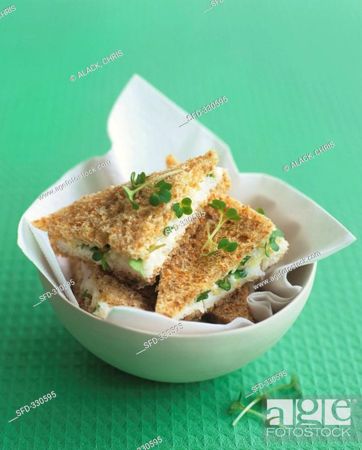 Stock Photo: Shrimp sandwiches with cress.