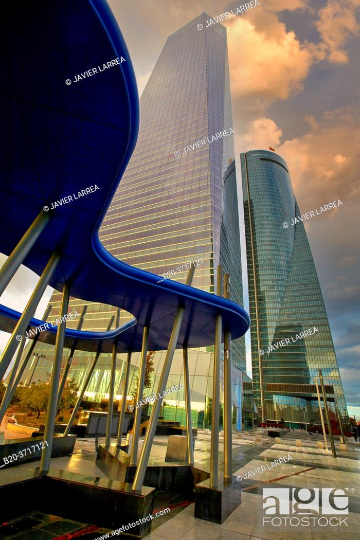 Stock Photo: Torre de Cristal y Torre Espacio, CTBA, Cuatro Torres Business Area, Madrid, Spain, Europe.