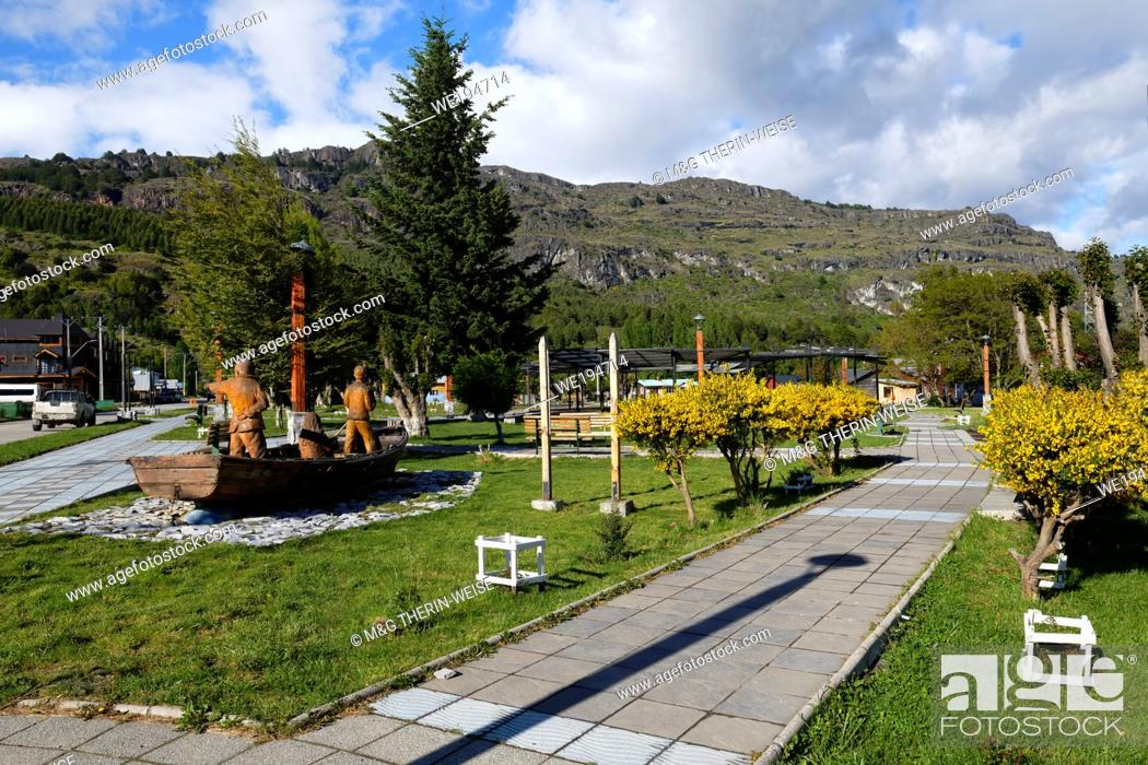 Stock Photo: Puerto Río Tranquilo, Main Square, Wooden sculpture representing fishermen, Carretera Austral, Aysen Region, Patagonia.