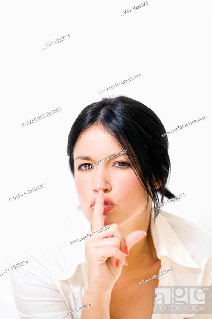 Stock Photo: Portrait of a brunette woman.