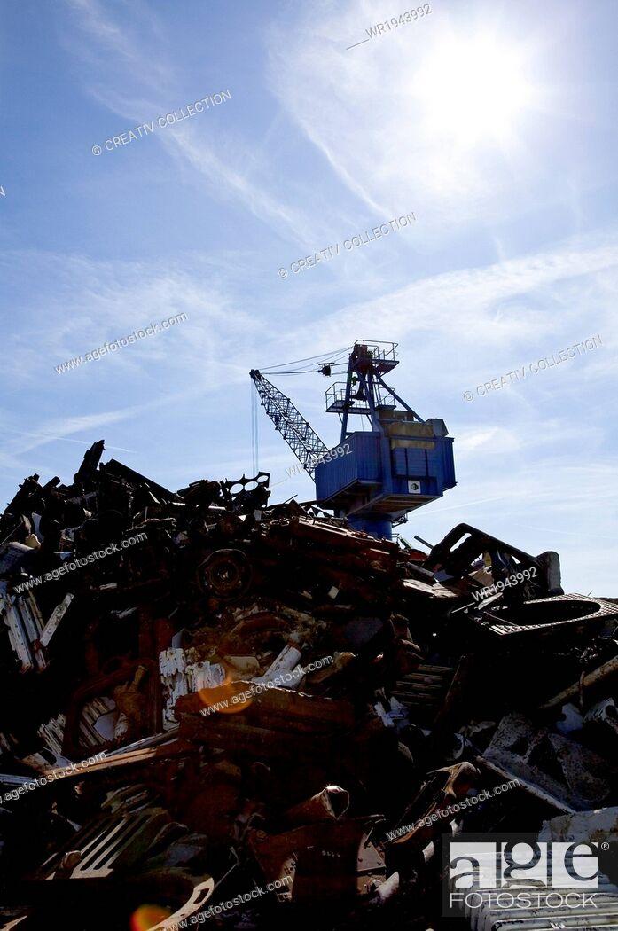 Stock Photo: Mountain, Broken, Object, Thing, Metal, Piece, Iron, Crane, Environment, Waste, Recycling, Damage, Garbage, Rubbish, Trash, Fabric, Refuse, Dealer, Scrap, Skip, Scrapyard, Utilization, Scrap Metal, Waste Disposal, Torn