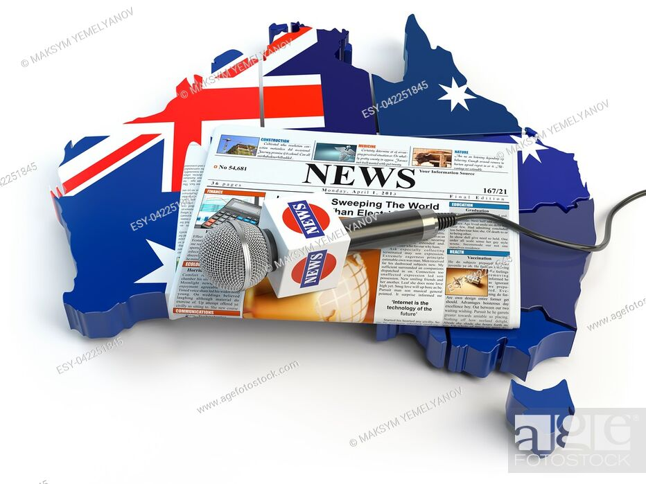 Stock Photo: Australian news, press and journalism concept. Microphone and newspaper on the map in colors of the flag of Australia. 3d illustration.