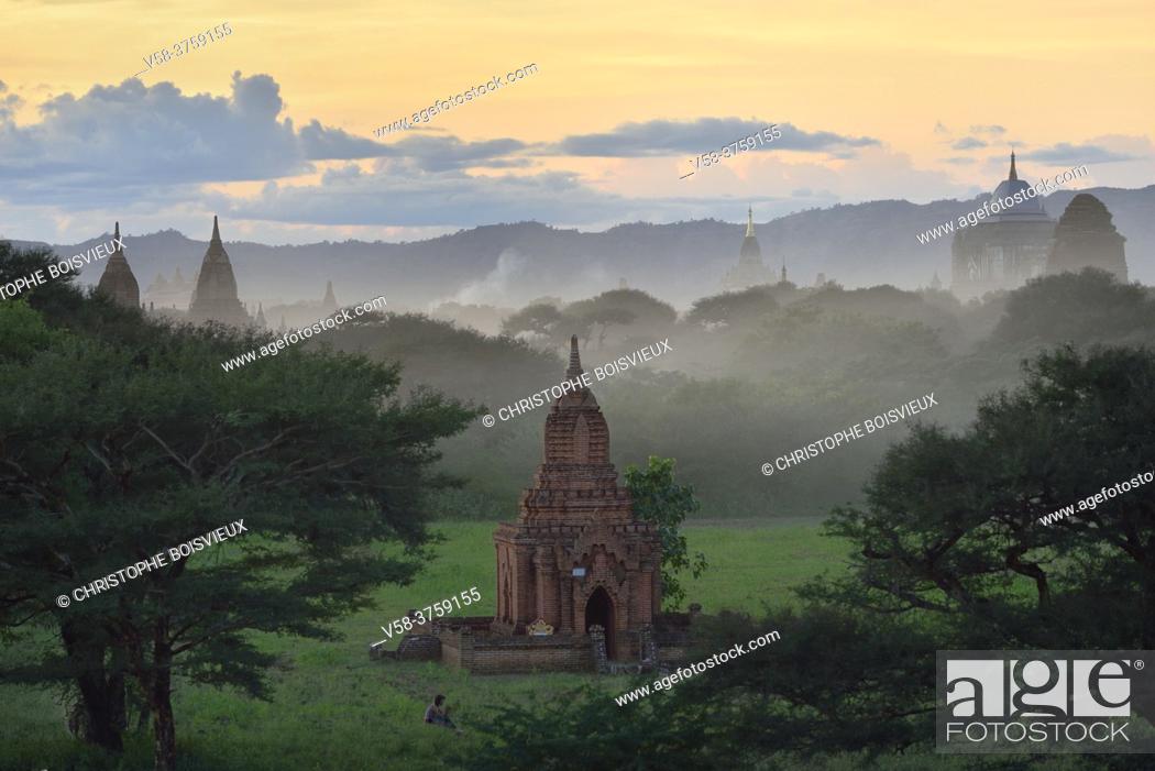 Stock Photo: Myanmar, Bagan at sunset.