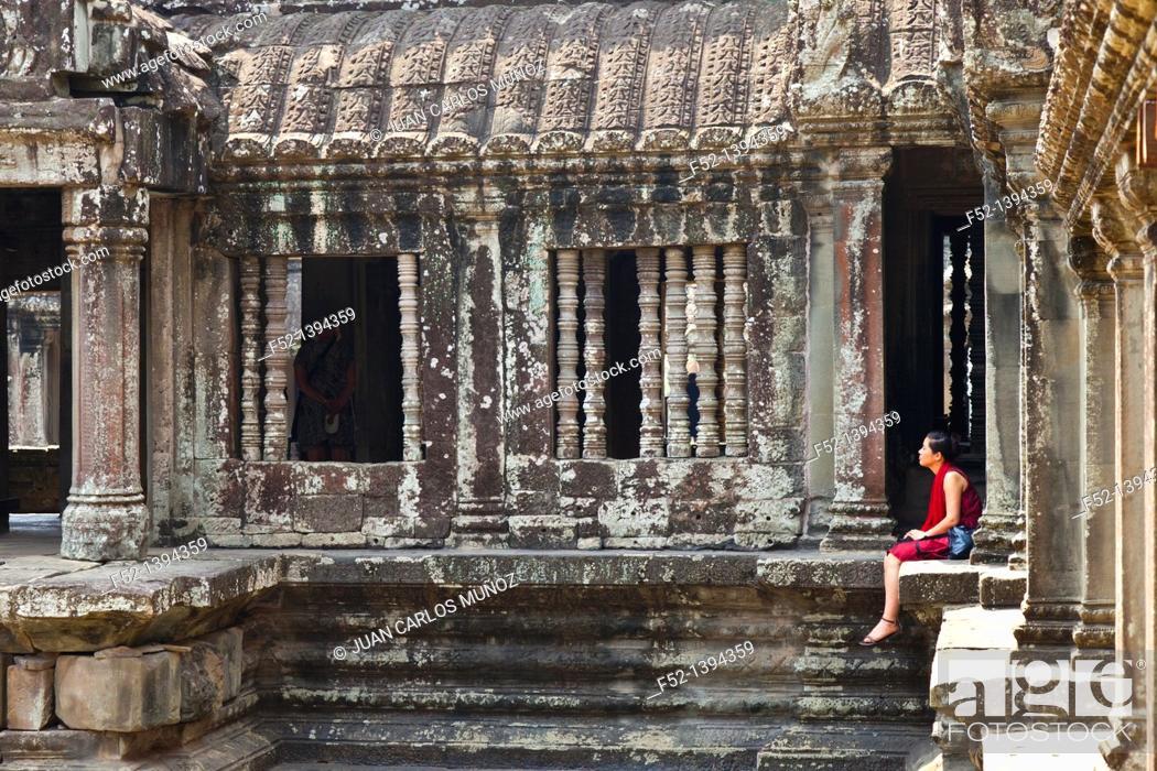 Stock Photo: Angkor Wat Temple  Angkor  Siem Reap town, Siem Reap province, Cambodia, Asia.