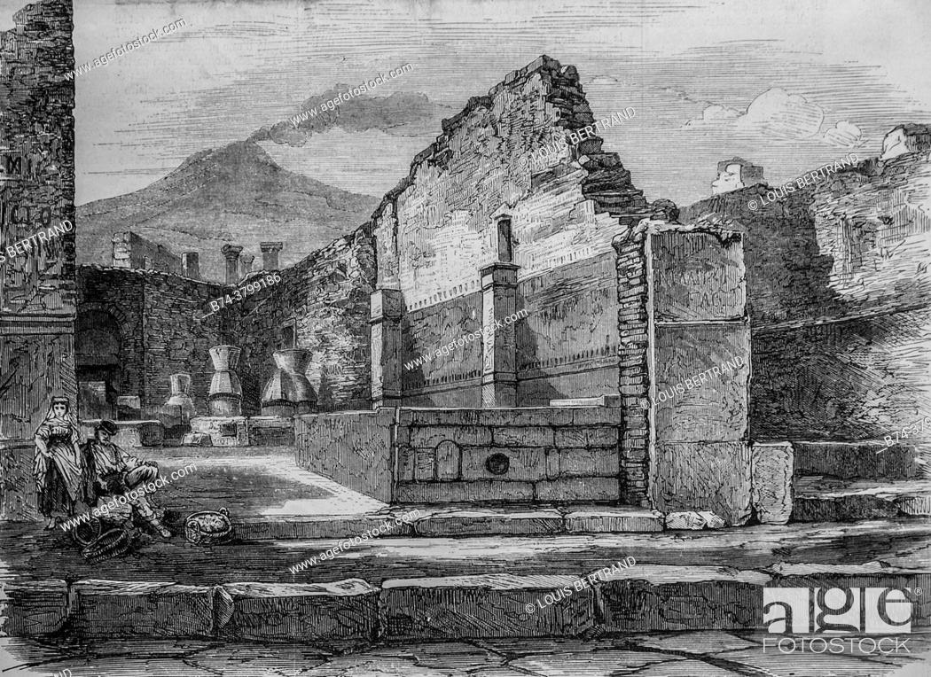 Photo de stock: excavations at Pompei baker's shop, the illustrious universe, publisher Michel Levy 1868.