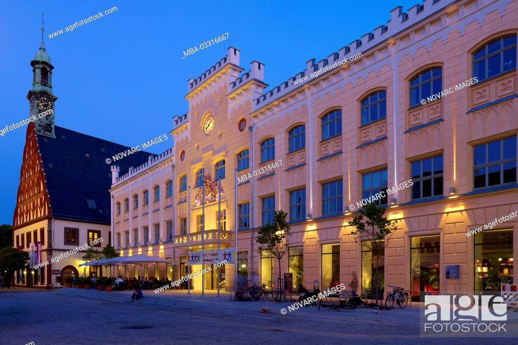 Stock Photo: Gewandhaus and town hall in Zwickau, Saxony, Germany,.