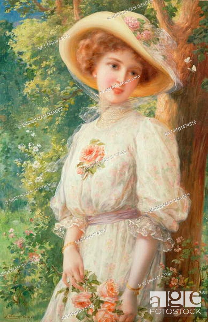 Stock Photo: Mlle Printemps, 1910 (oil on canvas), Vernon, Emile (1872-1919) / Private Collection / Photo © Peter Nahum at The Leicester Galleries, London / Bridgeman Images.