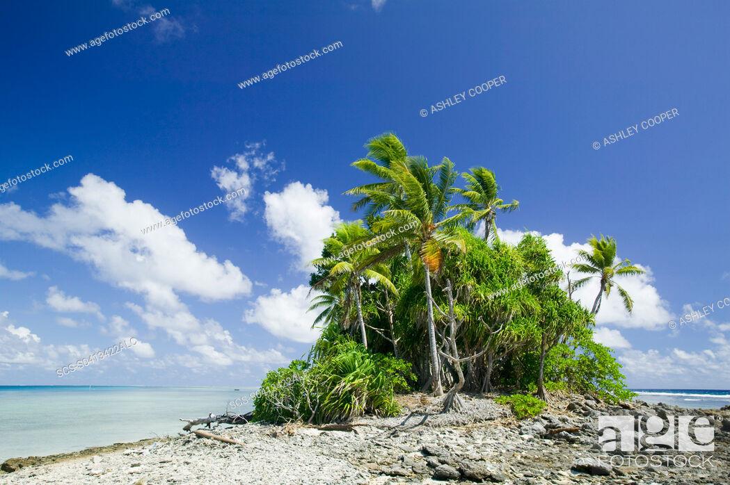 Stock Photo: Funafuti atol on Tuvalu threatened by global warming induced sea level rise.