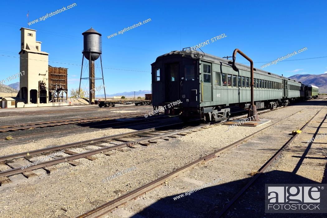 Stock Photo: historic train at Nevada Northern Railway Museum, Ely, Nevada, USA, North America.