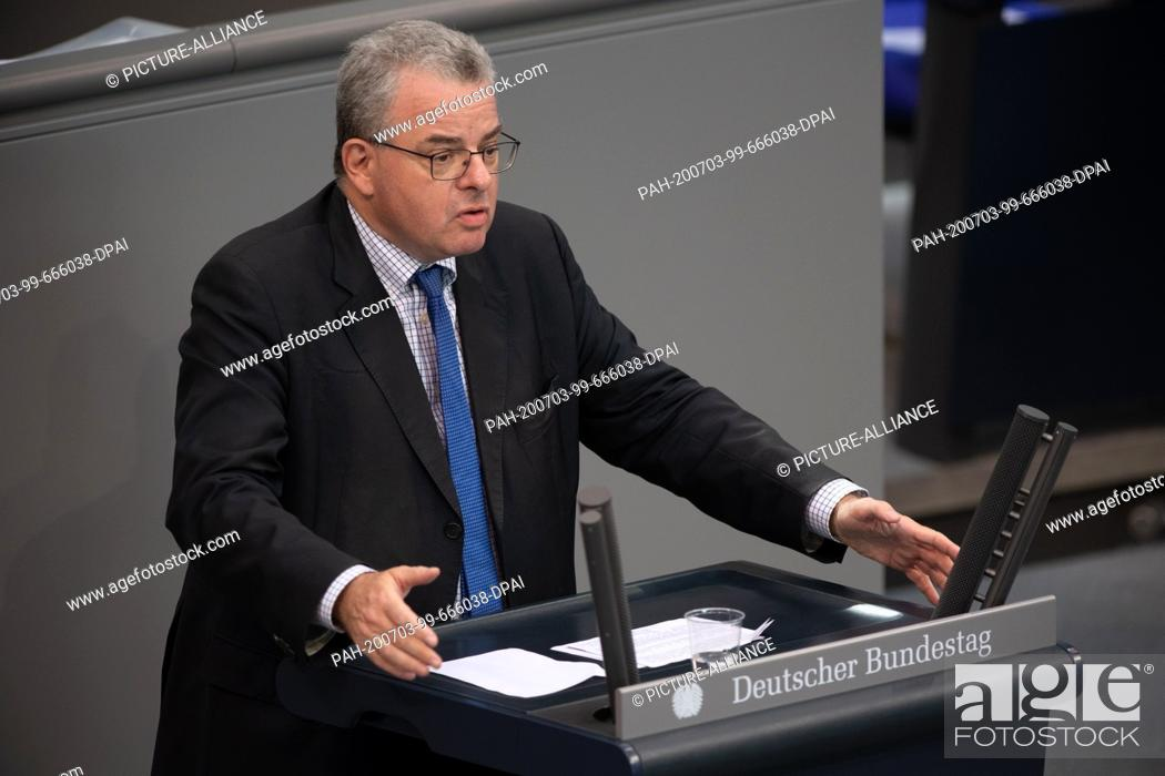 Stock Photo: 03 July 2020, Berlin: Andreas Nick (CDU) speaks in the plenary session of the German Bundestag. The main topics of the 171st session of the 19th legislative.