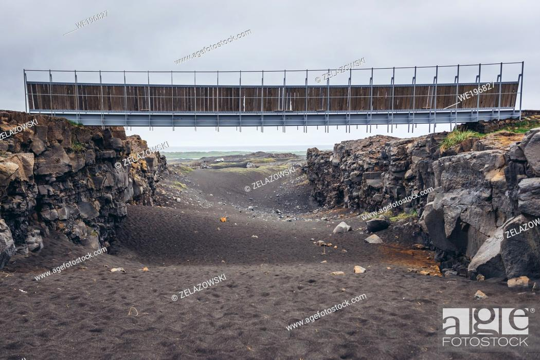 Stock Photo: Bridge between Europe and North America in Reykjanes UNESCO Global Geopark area in Reykjanesskagi - Southern Peninsula, Iceland.