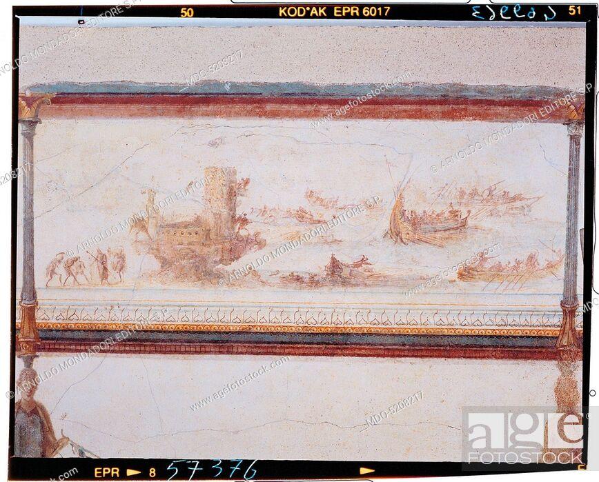 Imagen: Frieze with naval battle, by Unknown artist, 25, 1st Century, mural.
