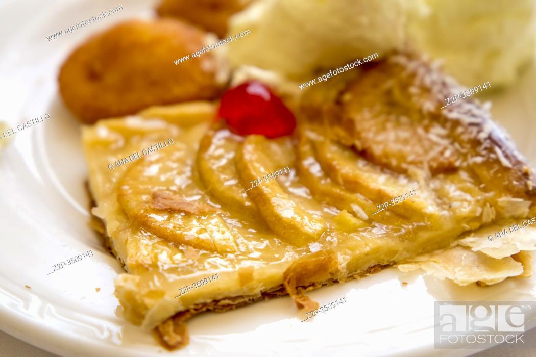 Stock Photo: Portion of apple tart on plate Spain.