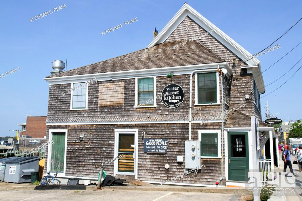 Stock Photo: Water Street Kitchen and Public House, Woods Hole, Falmouth, Cape Cod, United States, North America.