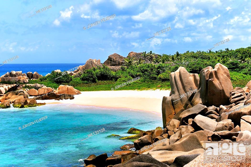 Stock Photo: Grande L'Anse, Beach on Island La Digue, Seychelles.