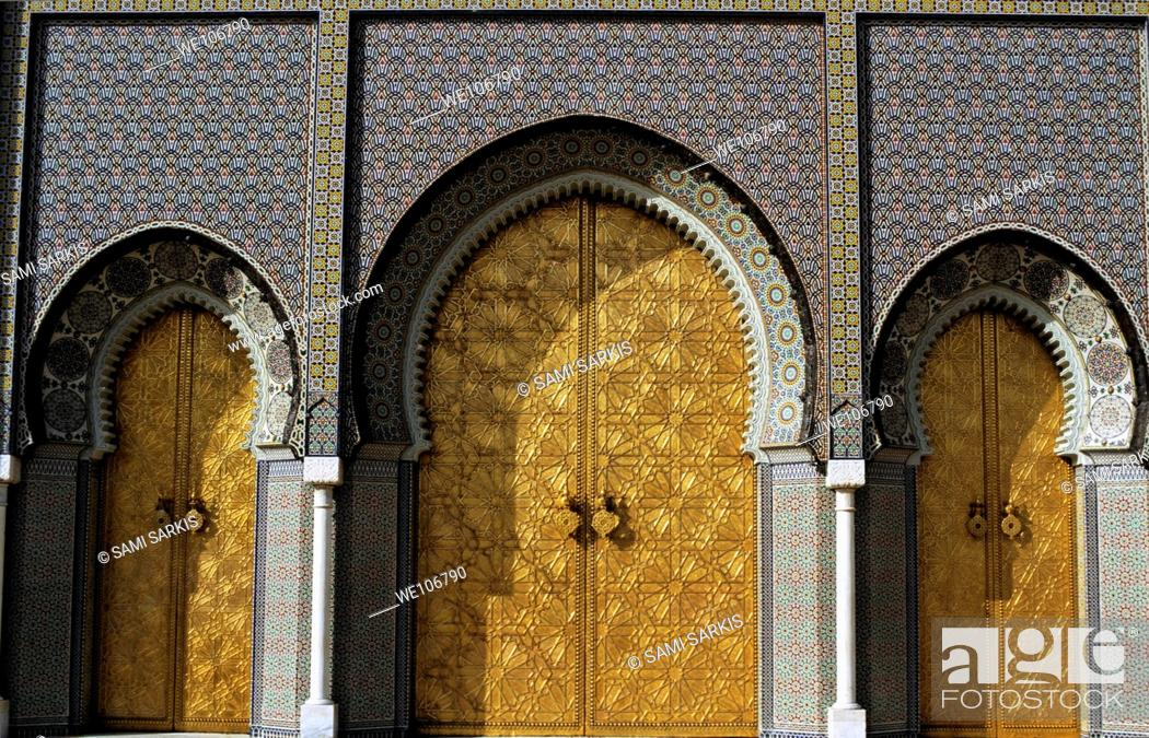 Stock Photo: Three golden doors forming the grand entrance to the Royal Palace in Fez, Morocco.