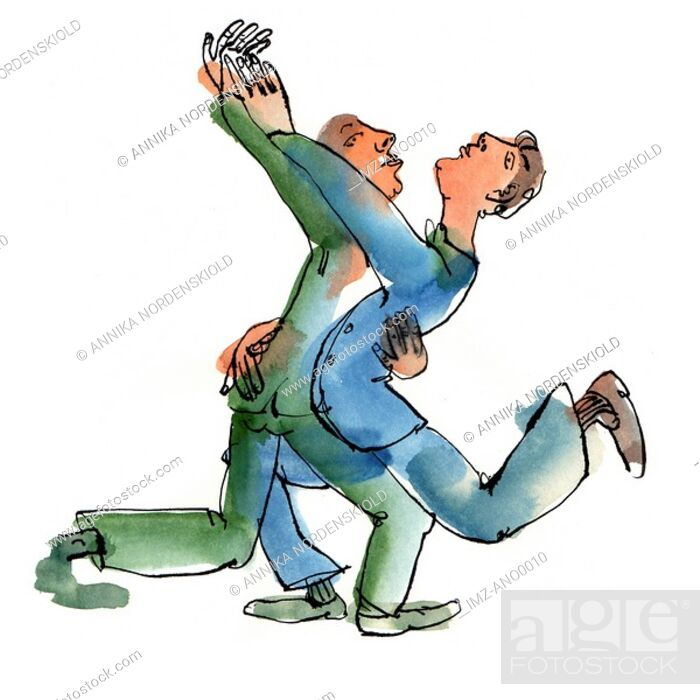 Stock Photo: Two men dancing with each other.
