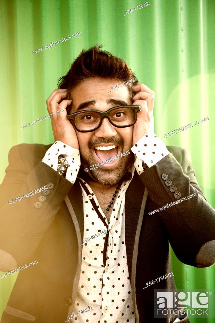 Stock Photo: Man looking at the camera with a funny screaming expression.