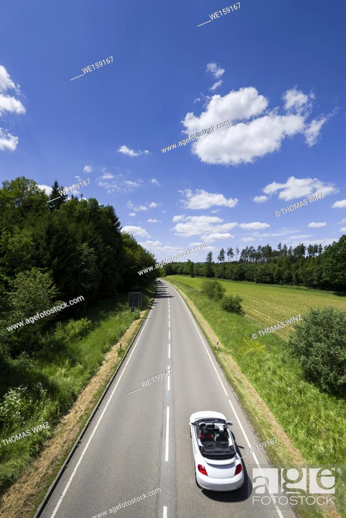 Stock Photo: High angle view of a country road in Springtime , Baden Württemberg , Germany.