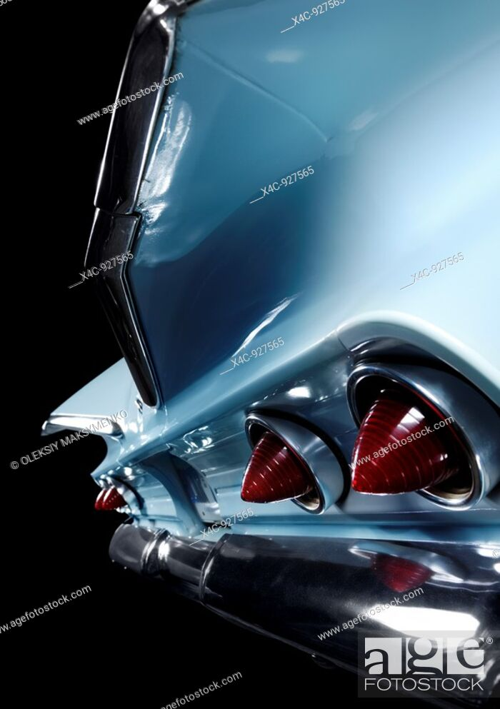 Stock Photo: Abstract closeup of iconic car 1960 Chevrolet Impala wings and taillights.