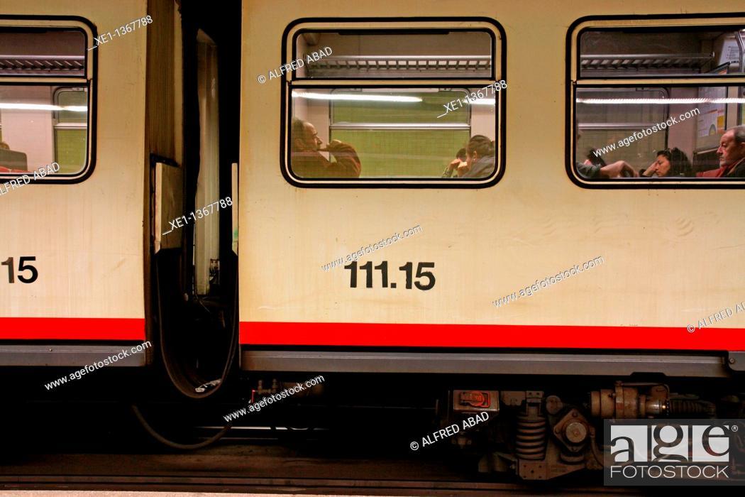 Stock Photo: train from FGC, Barcelona, Catalonia, Spain.