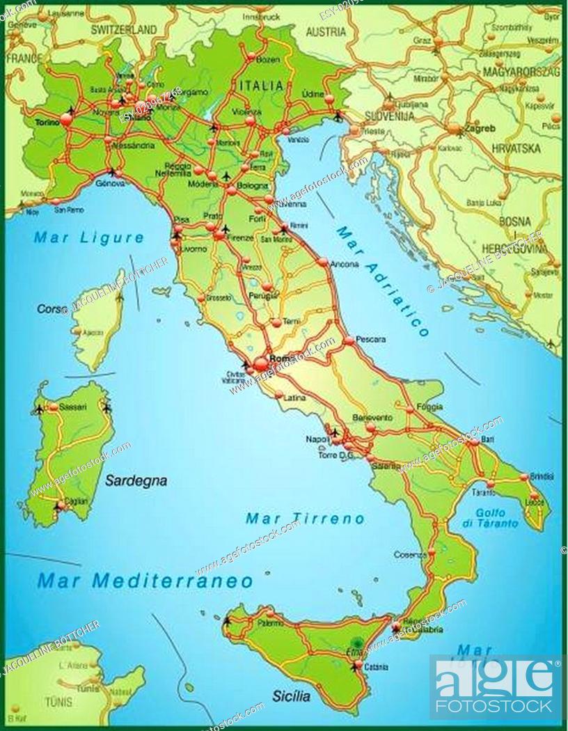 Stock Vector: Karte von Italien mit Verkehrsnetz.