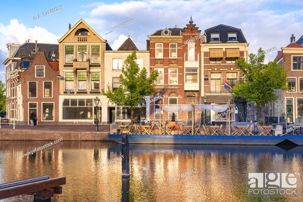 Stock Photo: Netherlands, South Holland, Leiden, Old houses by Turfmarkt.