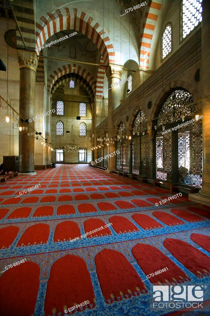 Stock Photo: Interior of the red Mosque , Istanbul, Turkey.