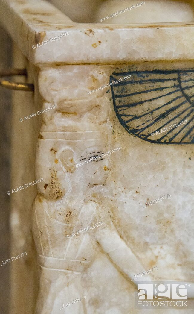 Stock Photo: Egypt, Cairo, Egyptian Museum, Tutankhamon alabaster, from his tomb in Luxor : Canopic box, the protective goddess Neith on the corner.